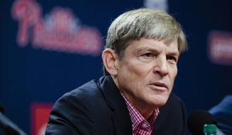 Philadelphia Phillies managing partner John Middleton speaks with members of the media during a news conference in Philadelphia, Friday, Oct. 11, 2019. The Phillies fired manager Gabe Kapler on Thursday. (AP Photo/Matt Rourke)