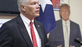 Former US Rep. Pete Sessions speak to the McLennan County Republican Party Thursday, Oct. 3, 2019, in Waco, Texas as he runs to fill the seat of Bill Flores who is stepping down (Jerry Larson/ Waco Tribune-Herald, via AP)