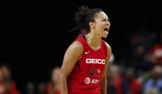 Washington Mystics guard Kristi Toliver reacts during the second half of Game 5 of basketball's WNBA Finals against the Connecticut Sun, Thursday, Oct. 10, 2019, in Washington. (AP Photo/Alex Brandon) ** FILE **