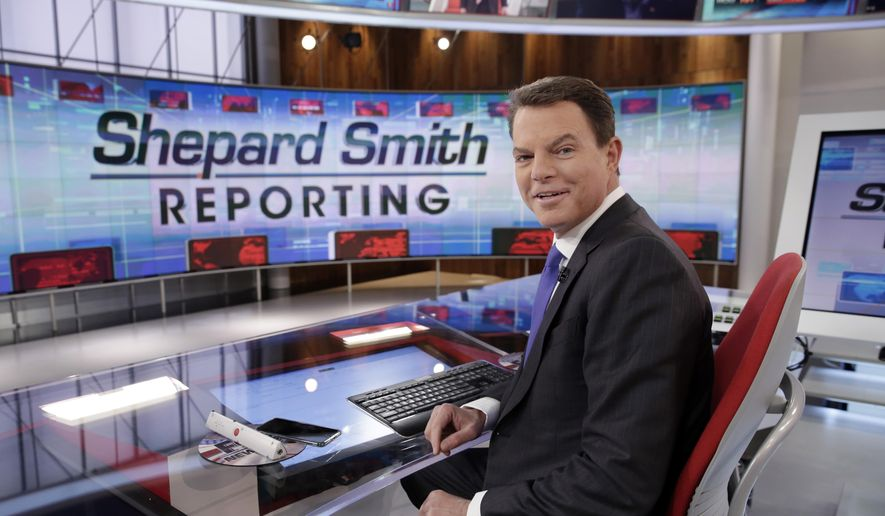 """In this Jan. 30, 2017, photo, Fox News Channel chief news anchor Shepard Smith appears on the set of """"Shepard Smith Reporting"""" in New York. (AP Photo/Richard Drew) **FILE**"""