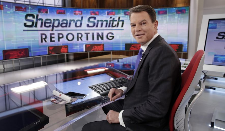 "In this Jan. 30, 2017, file photo, Fox News Channel chief news anchor Shepard Smith appears on the set of ""Shepard Smith Reporting"" in New York. (AP Photo/Richard Drew, File)"