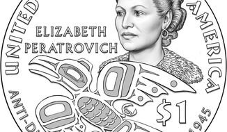 """This undated line drawing released by the U.S. Mint shows a new $1 coin that features Elizabeth Peratrovich, a young Alaska Native woman who left an impression on Alaska's territorial Senate in 1945 by persuading the body to pass one of the nation's first anti-discrimination laws. The U.S. Mint unveiled the design on Oct. 5, 2019, at the Alaska Native Brotherhood and Alaska Native Sisterhood convention in Anchorage. The coin features a portrait of the late civil rights leader, composed and graceful, her hair in tight rolls, above words that highlight her legacy: """"Anti-discrimination Law of 1945."""" An image of a raven, depicting her Tlingit lineage, soars near her. The 2020 Native American coin will go on sale early next year. (U.S. Mint via AP)"""