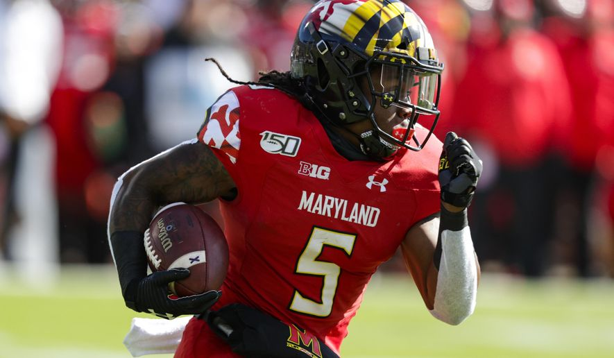 Maryland running back Anthony McFarland Jr. (5) runs against Purdue during the first half of an NCAA college football game in West Lafayette, Ind., Saturday, Oct. 12, 2019. (AP Photo/Michael Conroy) ** FILE **
