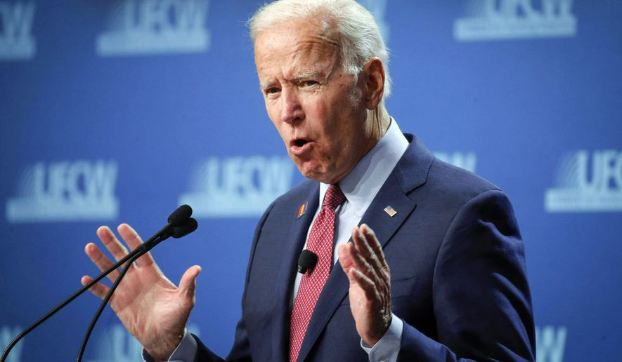 Democratic presidential candidate and former Vice President Joe Biden speaks during the UFCW Forum, Sunday, Oct. 13, 2019, at Prairie Meadows Hotel in Altoona, Iowa. (Bryon Houlgrave/The Des Moines Register via AP)