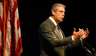 Then-Democratic presidential candidate and U.S. Rep. Tim Ryan, of Ohio, speaks at the Ohio Democratic Party's 2019 State Dinner, Sunday, Oct. 13, 2019, in Columbus, Ohio. (Maddie Schroeder/The Columbus Dispatch via AP) ** FILE **