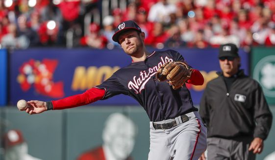 Washington Nationals' Trea Turner makes a throw during the third inning of Game 2 of the baseball National League Championship Series Saturday, Oct. 12, 2019, in St. Louis. (AP Photo/Jeff Roberson)