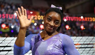 U.S. gymnast Simone Biles won five of the six gold medals at last week's world championships and broke the all-time record of 25 medals by any gymnast, male or female. (Associated Press)