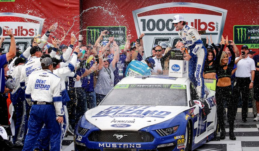 Driver Ryan Blaney gave Ford and Team Penske the win at Talladega Superspeedway on Monday. Blaney advanced to the third round of NASCAR's playoffs. (Associated Press)
