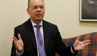 "Pastor Andrew Brunson was released from a Turkish prison last year. Mr. Brunson said if he were to return to Turkey, the ""government probably would not allow me back in the country, plus they've made me a target."" (Associated Press photographs)"
