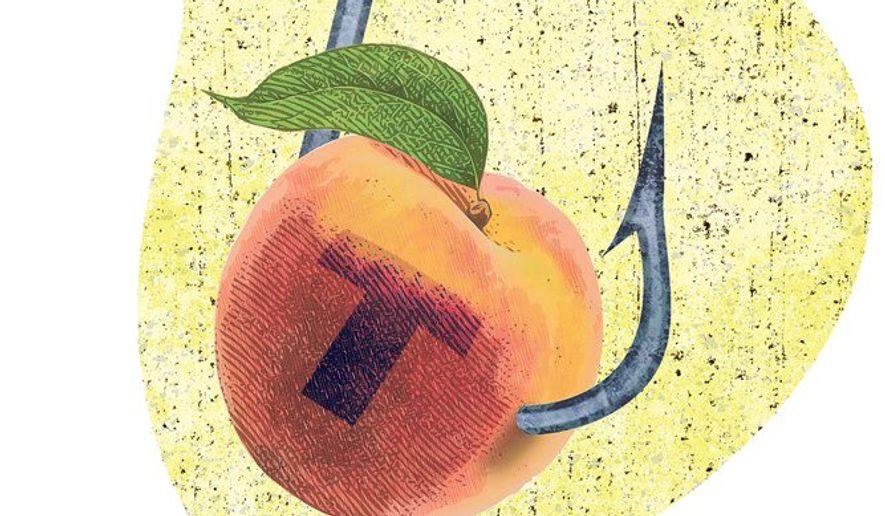 Peach Bait Illustration by Greg Groesch/The Washington Times