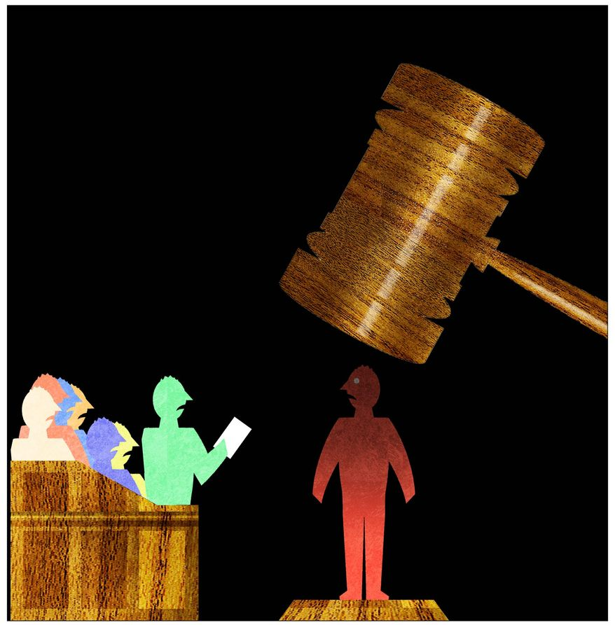 Illustration on acquitted conduct sentencing by Alexander Hunter/The Washington Times