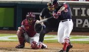 Washington Nationals' Howie Kendrick hits an RBI double during the fifth inning of Game 3 of the baseball National League Championship Series against the St. Louis Cardinals Monday, Oct. 14, 2019, in Washington. (AP Photo/Alex Brandon)
