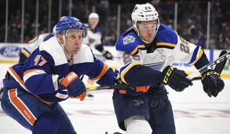 St. Louis Blues left wing Mackenzie MacEachern (28) and New York Islanders right wing Leo Komarov (47) battle for possession during the first period of an NHL hockey game, Monday, Oct. 14, 2019, in Uniondale, N.Y. (AP Photo/Kathleen Malone-Van Dyke)