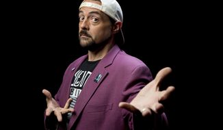 "This Sept. 25, 2019 photo shows Kevin Smith posing during an interview in Los Angeles to promote his film ""Jay and Silent Bob Reboot."" (Photo by Willy Sanjuan/Invision/AP)"