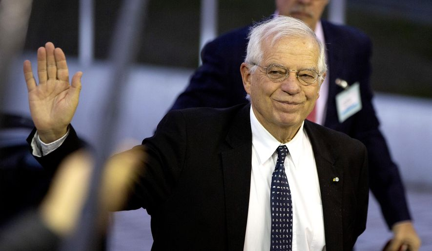 Incoming European Union foreign policy chief Josep Borrell arrives for a meeting of EU foreign ministers at the European Convention Center in Luxembourg, Monday, Oct. 14, 2019. Some European Union nations are looking to extend moves against Turkey by getting more nations to ban arms exports to Ankara to protest the offensive in neighboring Syria. (AP Photo/Virginia Mayo)
