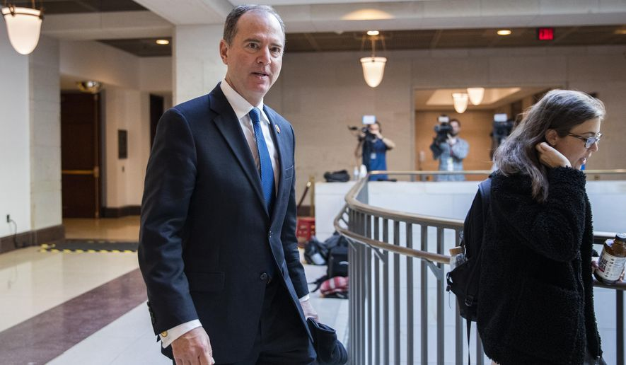 Rep. Adam Schiff, D-Calif., chairman of the House Intelligence Committee, arrives for a scheduled deposition of President Donald Trump's top aide on Russia and Europe Fiona Hill, on Capitol Hill in Washington, Monday, Oct. 14, 2019. (AP Photo/Manuel Balce Ceneta)