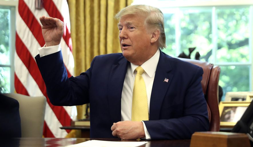 President Donald Trump speaks as he meets with Chinese Vice Premier Liu He in the Oval Office of the White House in Washington, Friday, Oct. 11, 2019. (AP Photo/Andrew Harnik)