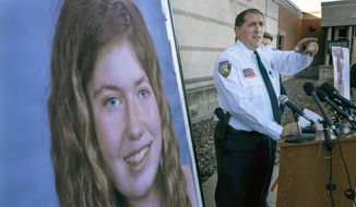 FILE - In this Oct. 17, 2018, file photo, Barron County Sheriff Chris Fitzgerald speaks during a news conference about 13-year-old Jayme Closs who had been missing since her parents were found dead in their home in Barron, Wis. Fitzgerald, who led the investigation into the kidnapping of Closs and the slaying of her parents hopes the courage and resilience of the 13-year-old girl is the focus on the one-year anniversary of the crimes.  (Jerry Holt/Star Tribune via AP, File)