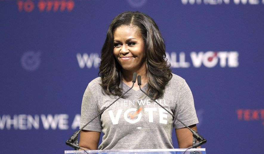 If she chose to run, former first lady Michelle Obama would defeat every Democratic hopeful in the primary election according to a survey. (Associated Press)