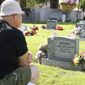Marion Lewis sits at his daughter Lori's grave site on Oct. 15, 2009 in Mountain Home, Id. Lori Ann Lewis-Rivera was vacuuming cereal from her minivan Oct. 3, 2002 at a gas station near her Silver Springs, Md. home when she was shot down by Washington, D.C. area John Allen Muhammad and his young accomplice, Lee Boyd Malvo. (AP Photo/Matt Cilley)