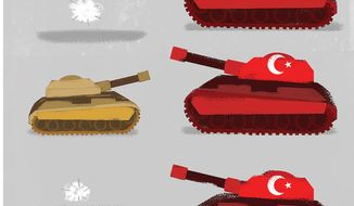 Illustration on the situation in northern Syria by Linas Garsys/The Washington Times