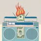 Illustration on radio airplay fees by Linas Garsys/The Washington Times