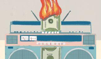 Illustration on radio airplay fees by Linas Garsys/The Washington Times
