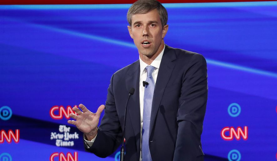 Democratic presidential candidate former Texas Rep. Beto O'Rourke participates in a Democratic presidential primary debate hosted by CNN/New York Times at Otterbein University, Tuesday, Oct. 15, 2019, in Westerville, Ohio. (AP Photo/John Minchillo)