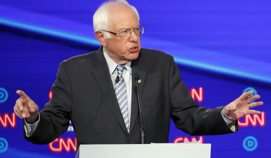 Democratic presidential candidate Sen. Bernie Sanders, I-Vt., speaks during a Democratic presidential primary debate hosted by CNN/New York Times at Otterbein University, Tuesday, Oct. 15, 2019, in Westerville, Ohio. (AP Photo/John Minchillo)