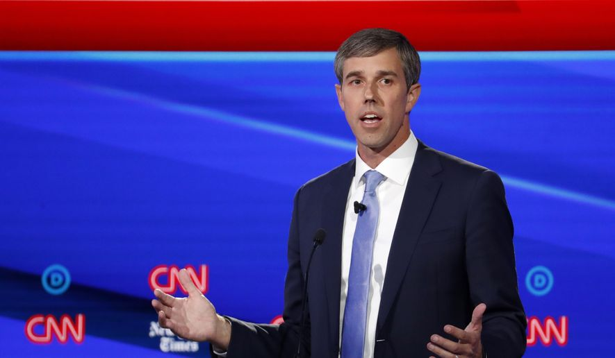 Democratic presidential candidate former Texas Rep. Beto O'Rourke speaks in a Democratic presidential primary debate hosted by CNN/New York Times at Otterbein University, Tuesday, Oct. 15, 2019, in Westerville, Ohio. (AP Photo/John Minchillo)