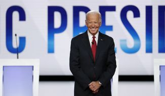 Democratic presidential candidate former Vice President Joe Biden participates in a Democratic presidential primary debate hosted by CNN/New York Times at Otterbein University, Tuesday, Oct. 15, 2019, in Westerville, Ohio. (AP Photo/John Minchillo)