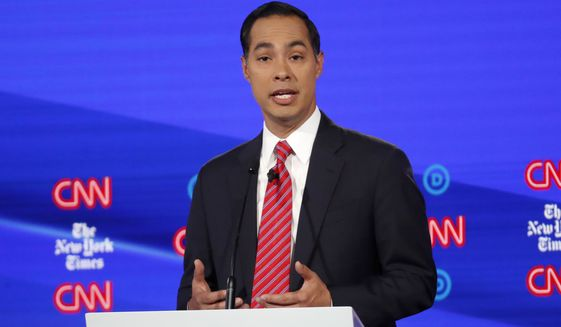 Democratic presidential candidate former Housing Secretary Julian Castro participates in a Democratic presidential primary debate hosted by CNN/New York Times at Otterbein University, Tuesday, Oct. 15, 2019, in Westerville, Ohio. (AP Photo/John Minchillo)