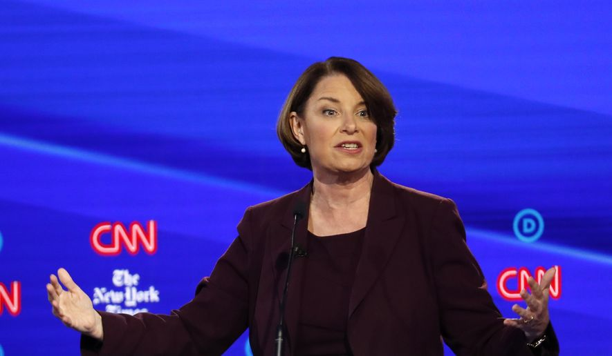 Democratic presidential candidate Sen. Amy Klobuchar, D-Minn., participates in a Democratic presidential primary debate hosted by CNN/New York Times at Otterbein University, Tuesday, Oct. 15, 2019, in Westerville, Ohio. (AP Photo/John Minchillo)