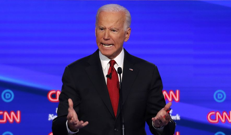 Democratic presidential candidate former Vice President Joe Biden speaks during a Democratic presidential primary debate hosted by CNN/New York Times at Otterbein University, Tuesday, Oct. 15, 2019, in Westerville, Ohio. (AP Photo/John Minchillo)