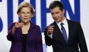 Democratic presidential candidate Sen. Elizabeth Warren, D-Mass., left, and South Bend Mayor Pete Buttigieg stand on stage before a Democratic presidential primary debate hosted by CNN/New York Times at Otterbein University, Tuesday, Oct. 15, 2019, in Westerville, Ohio. (AP Photo/John Minchillo) ** FILE **
