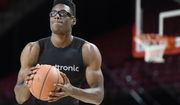 Maryland NCAA college basketball player Jalen Smith warms up at practice during Media Day, Tuesday, Oct. 15, 2019, in College Park, Md. (AP Photo/Gail Burton)