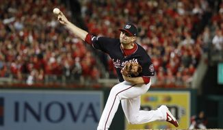 Washington Nationals relief pitcher Daniel Hudson throws during the eighth inning of Game 4 of the baseball National League Championship Series against the St. Louis Cardinals Tuesday, Oct. 15, 2019, in Washington. (AP Photo/Jeff Roberson) ** FILE **