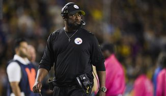 Pittsburgh Steelers head coach Mike Tomlin during an NFL football game against the Los Angeles Chargers, Sunday, Oct. 13, 2019, in Carson, Calif. (AP Photo/Kyusung Gong)