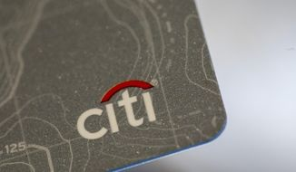 This Aug. 11, 2019, photo shows a Citibank credit card in New Orleans. Citigroup Inc. reports financial results Tuesday, Oct. 14. (AP Photo/Jenny Kane)