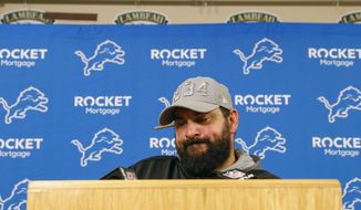 Detroit Lions head coach Matt Patricia speaks during a news conference following an NFL football game against the Green Bay Packers, Monday, Oct. 14, 2019, in Green Bay, Wis. Green Bay won 23-22. (AP Photo/Jeffrey Phelps)