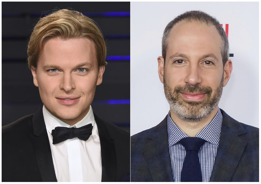 "This combination photo shows Pulitzer Prize-winning writer Ronan Farrow at the Vanity Fair Oscar Party in Beverly Hills, Calif. on Feb. 24, 2019, left, and NBC News President Noah Oppenheim at the 2016 AFI Festival ""Jackie"" Centerpiece Gala in Los Angeles on Nov. 14, 2016. Farrow's account of his contentious divorce from NBC News, the more evidence he gathered on Hollywood mogul Harvey Weinstein's sexual misconduct, the less enthusiastic his bosses seemed to be. NBC's decision to let Farrow take his work to the New Yorker magazine is widely regarded as one of the biggest mistakes in journalism the past few years. His former employers call Farrow's book, ""Catch and Kill,"" a smear. It's being published Tuesday. (AP Photo)"