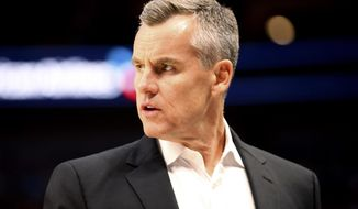 Oklahoma City Thunder head coach Billy Donovan stands on the sideline during an NBA preseason basketball game against the Dallas Mavericks, Monday, Oct. 14, 2019, in Dallas. (AP Photo/Richard W. Rodriguez)