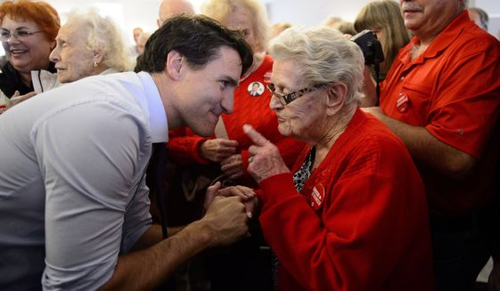 Canadian Prime Minister Justin Trudeau, with about 34% support, needs to convince a lot of voters before elections Monday that he deserves another four-year term. (Associated Press/File)