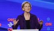 Democratic presidential candidate Sen. Elizabeth Warren, D-Mass., speaks during a Democratic presidential primary debate hosted by CNN and The New York Times at Otterbein University, Tuesday, Oct. 15, 2019, in Westerville, Ohio. (AP Photo/John Minchillo)