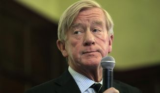 Republican presidential candidate and former Massachusetts Gov. Bill Weld addresses students and guests during a campaign stop Wednesday, Oct. 16, 2019, at Tufts University, in Medford, Mass. (AP Photo/Steven Senne)