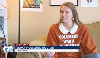"""Emma Howland-Bolton, a fifth-grade teacher at Clippert Multicultural Magnet Honors Academy in Detroit, is defending herself after she sparked controversy for wearing a sweatshirt to school that read, """"Columbus was a murderer."""" (WXYZ)"""