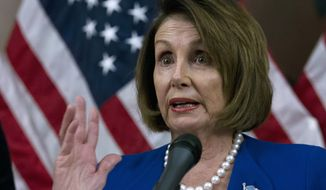 Speaker of the House Nancy Pelosi, D-Calif., speaks to the media about the H.R. 3 Lower Drug Costs Now Act, at the Capitol in Washington, Wednesday, Oct. 16, 2019.  (AP Photo/Jose Luis Magana)