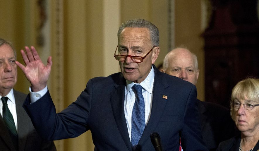 Senate Minority Leader Chuck Schumer, D-N.Y., speaks to the media after Senate Policy Luncheon in Capitol Hill in Washington, Wednesday, Oct. 16, 2019. (AP Photo/Jose Luis Magana)