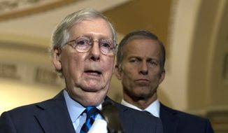 Senate Majority Leader Mitch McConnell, R-Ky., speaks with the media after the Senate Policy Luncheon in Capitol Hill in Washington, Wednesday, Oct. 16, 2019. (AP Photo/Jose Luis Magana)