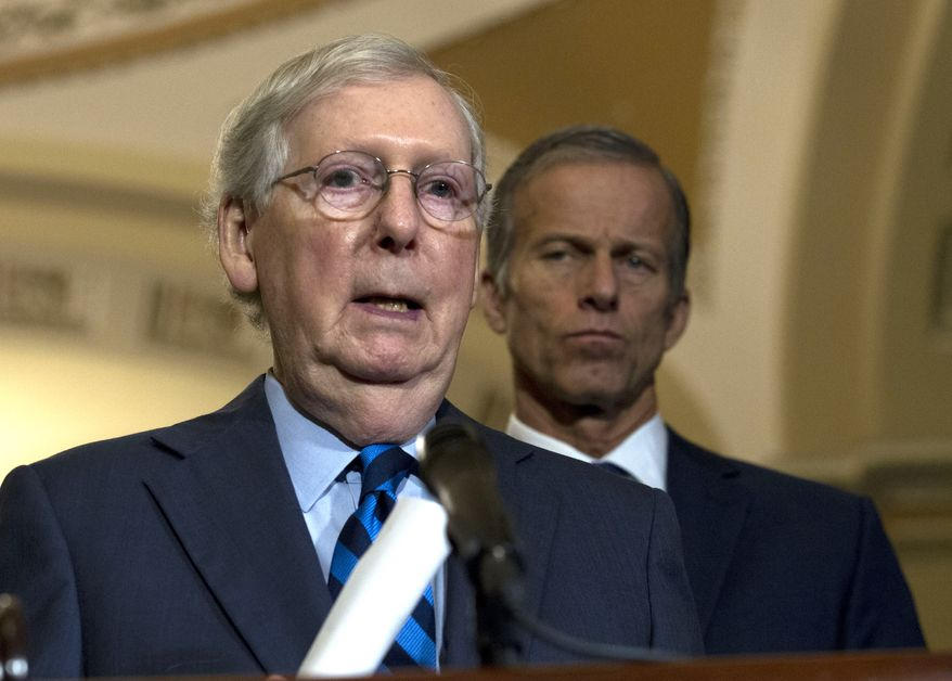 Senate Majority Leader Mitch McConnell, R-Ky., speaks with the media after the Senate Policy Luncheon in Capitol Hill in Washington, Wednesday, Oct. 16, 2019. (AP Photo/Jose Luis Magana) **FILE**